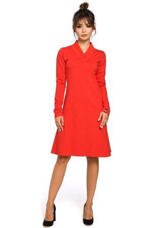 Moe Czerwona sukienka z długim rękawem