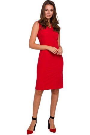 Makeover Czerwona ołówkowa sukienka w serek bez rękawów