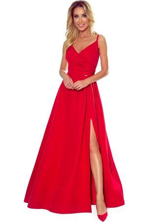 Numoco Czerwona maxi sukienka na ramiączkach z kopertowym dekoltem