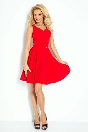 Numoco Czerwona sukienka elegancka rozkloszowana na szerokich ramiączkach