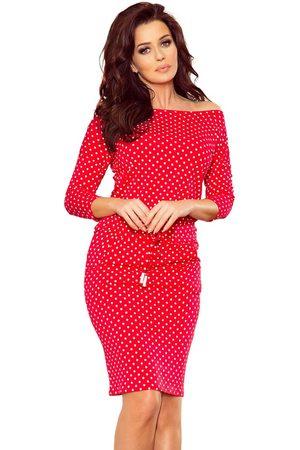 Numoco Czerwona sukienka sportowa ściągana w groszki