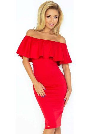 Numoco Czerwona sukienka ołówkowa z hiszpańskim dekoltem