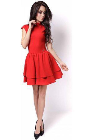 Ivon Czerwona sukienka z niewielką stójką z falbankami
