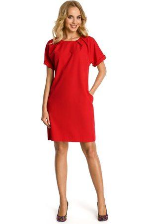 Moe Czerwona sukienka z krótkim reglanowym rękawem