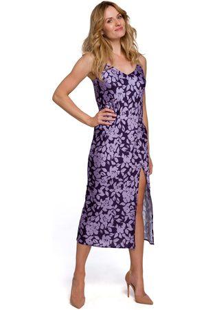 MOE Kobieta Sukienki z nadrukiem - Długa sukienka w kwiaty na ramiączkach - model 2