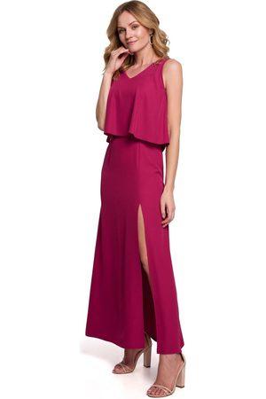 MOE Długa sukienka z dwuwarstwową górą - śliwkowa