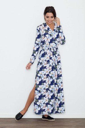 Figl Długa sukienka szmizjerka w kwiaty wzór 71