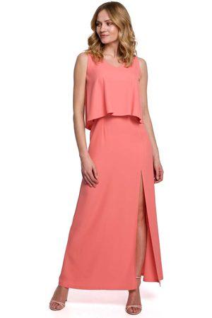 MOE Długa sukienka z dwuwarstwową górą - pomarańczowa