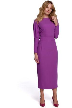 MOE Długa sukienka z pęknięciem na plecach - lawendowa