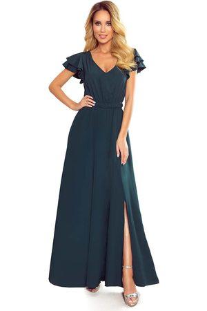 Numoco Długa sukienka z falbankami na ramionach - zielona