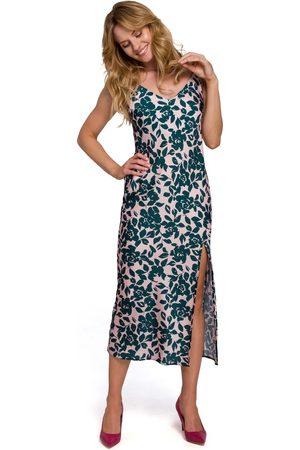 MOE Długa sukienka w kwiaty na ramiączkach - model 3