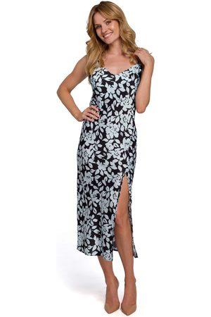 MOE Długa sukienka w kwiaty na ramiączkach - model 4