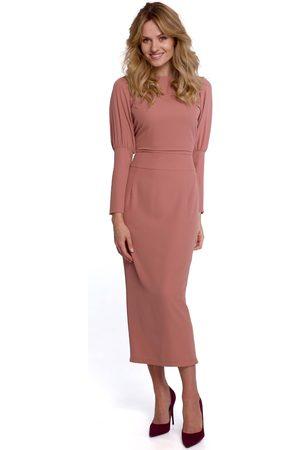 MOE Długa sukienka z pęknięciem na plecach - różowa