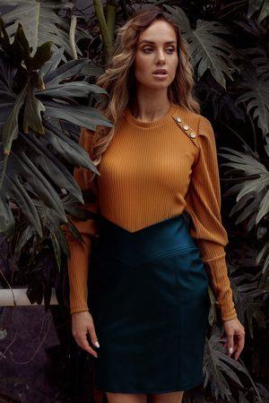 MOE Dopasowana spódnica mini z eko-skóry - zielona
