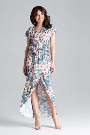 Katrus Kobieta Sukienki maxi - Długa kopertowa sukienka z krótkim kimonowym rękawem - wzór 104