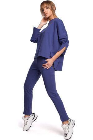 MOE Dresowe spodnie z rozciętą nogawką - indygo