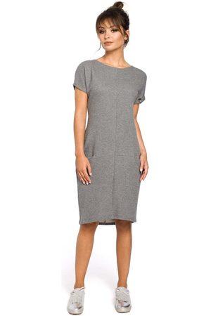 MOE Dresowa szara sukienka mini z kieszeniami w szwach