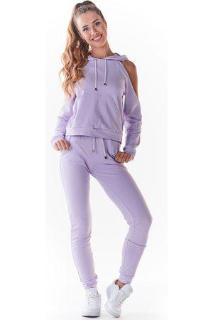 Infinite you Dresowe spodnie z cienkiej dzianiny - purpurowe