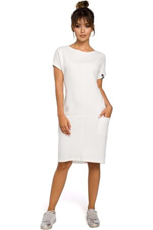 MOE Dresowa ecru sukienka mini z kieszeniami w szwach