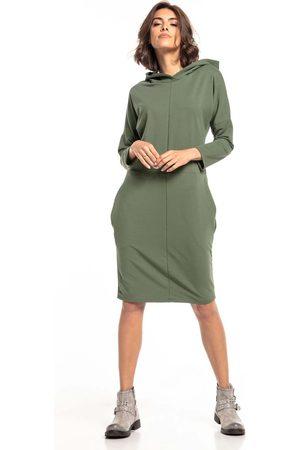 Tessita Dzianinowa sukienka z kapturem - zielona