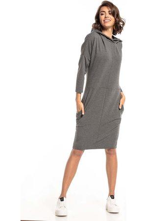 Tessita Dzianinowa sukienka z kapturem - szara