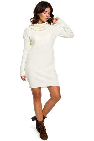 MOE Ecru długi sweter- sukienka z szerokim golfem