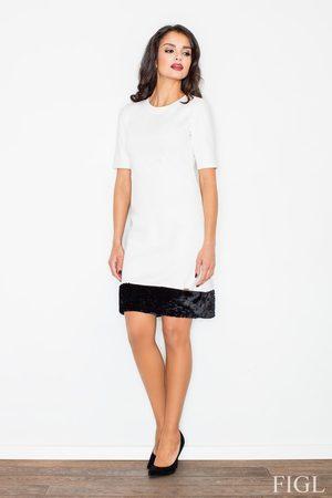Figl Ecru elegancka ołówkowa sukienka z futrzaną wypustką