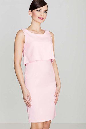 Katrus Elegancka różowa sukienka na szerokich ramiączkach