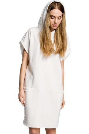 MOE Ecru luźna nietoperzowa sukienka z kapturem