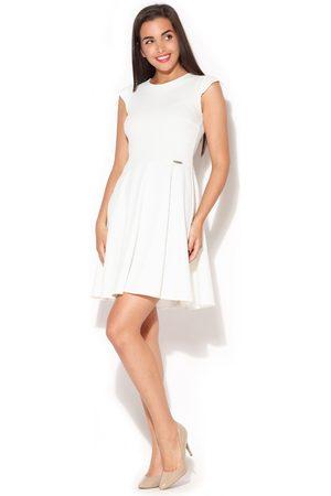 Katrus Ecru rozkloszowana sukienka z zakładkami