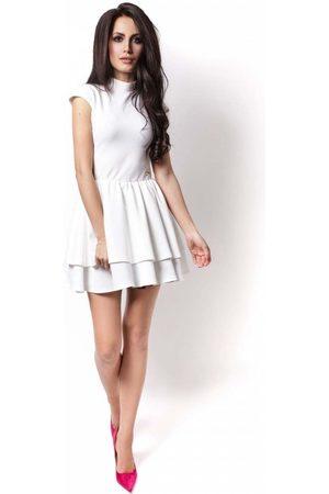 Ivon Ecru sukienka z niewielką stójką z falbankami