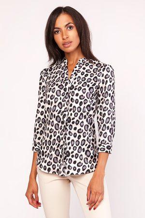 Lanti Elegancka wzorzysta koszula w panterkę ze stojką z rękawem ¾