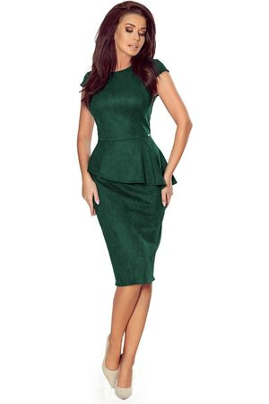 Numoco Elegancka ołówkowa sukienka midi z asymetryczną baskinką - zielona