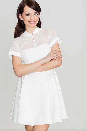 Katrus Ecru sukienka z szyfonem z krótkim rękawem