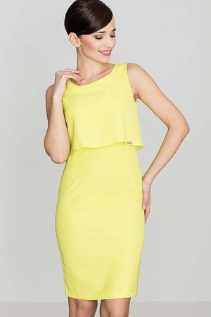 Katrus Elegancka żółta sukienka na szerokich ramiączkach
