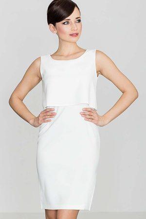 Katrus Elegancka ecru sukienka na szerokich ramiączkach