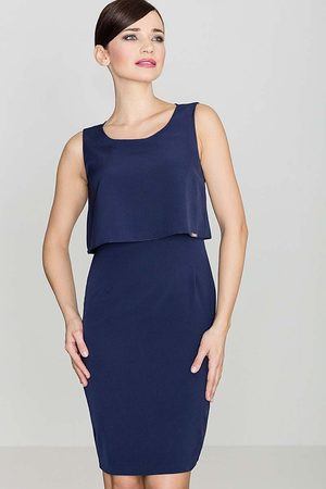 Katrus Elegancka granatowa sukienka na szerokich ramiączkach