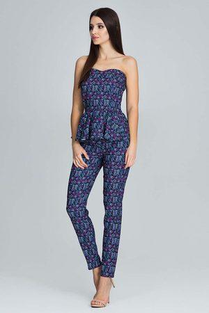 Figl Kobieta Spodnie - Elegancki komplet gorsetowa bluzka + długie spodnie