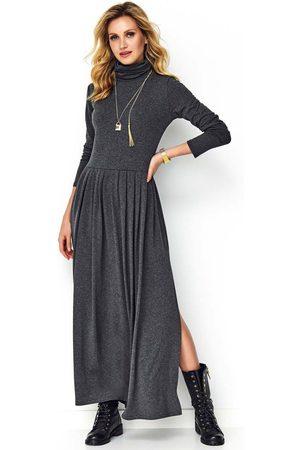 Makadamia Kobieta Sukienki dzianinowe - Grafitowa dzianinowa maxi sukienka z golfem