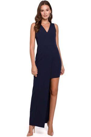 Makeover Granatowa asymetryczna długa sukienka wieczorowa