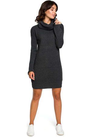 MOE Grafitowy długi sweter- sukienka z szerokim golfem