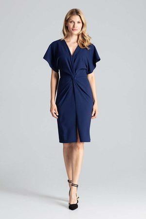 Figl Granatowa elegancka sukienka midi z zakładanym dekoltem