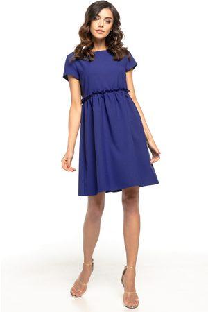 Tessita Kobieta Sukienki mini - Granatowa lekka zwiewna sukienka z mini rękawkiem