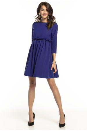 Tessita Kobieta Sukienki koktajlowe i wieczorowe - Granatowa krótka sukienka z marszczonym dołem