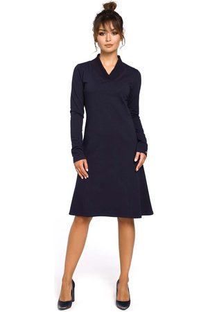 MOE Granatowa sukienka z długim rękawem