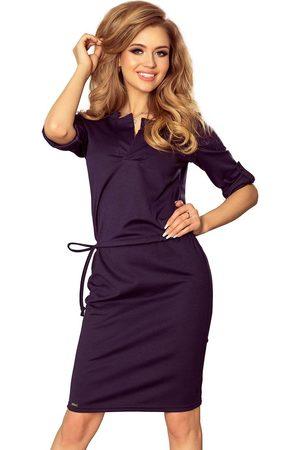 Numoco Kobieta Sukienki koktajlowe i wieczorowe - Granatowa sukienka z niską stójką