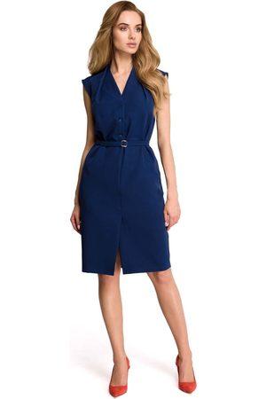 MOE Kobieta Sukienki bez rękawów - Granatowa wizytowa sukienka szmizjerka bez rękawów