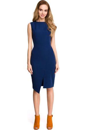 MOE Granatowa wyjściowa dopasowana sukienka z asymetrycznym rozporkiem