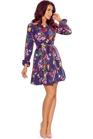 Numoco Granatowa zwiewna kobieca sukienka z falbankami
