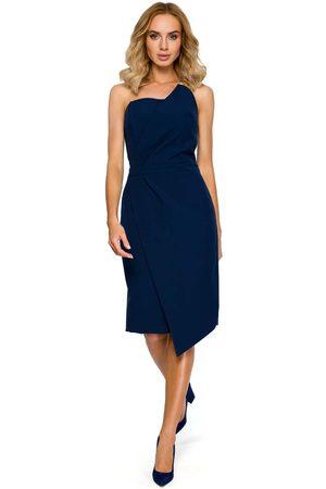 MOE Granatowa wieczorowa asymetryczna sukienka z odkrytymi ramionami